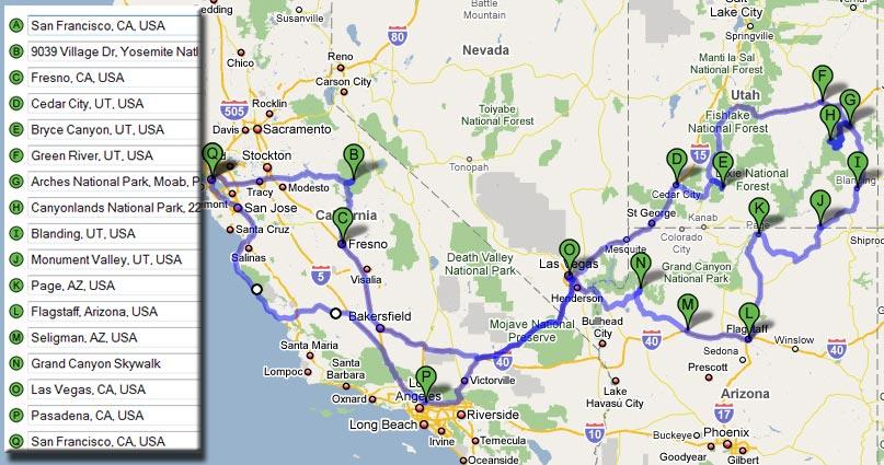 kalifornien rundreise karte hanzeontwerpfabriek. Black Bedroom Furniture Sets. Home Design Ideas